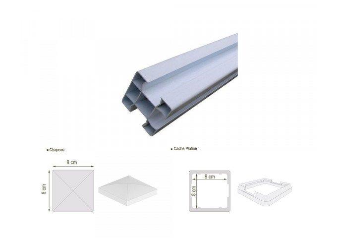 Poteau PVC blanc 80x80mm 3 sorties hauteur 1 mètre
