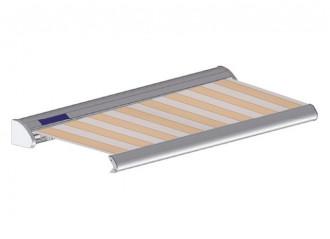 Store solaire avec coffre modèle SOLAR sur mesure, toile sienne wheat Dickson Orchestra 8210, jusqu'à 5m90 x 3m