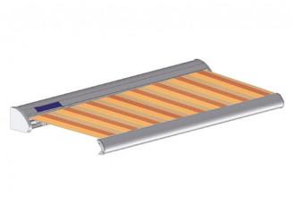 Store solaire avec coffre modèle SOLAR sur mesure, toile woodstock Dickson orchestra 8609, jusqu'à 5m90 x 3m